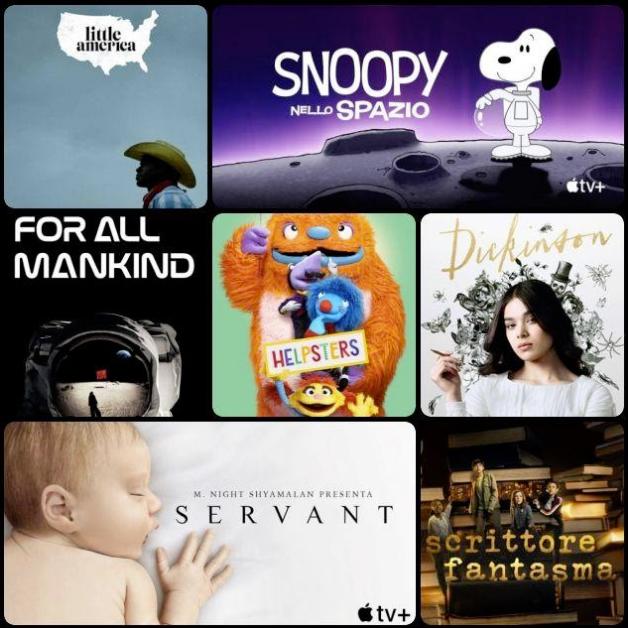 Collage di locandine di serie di Apple TV+. Tra le altre, Servant, The Snoopy Show e For All Mankind