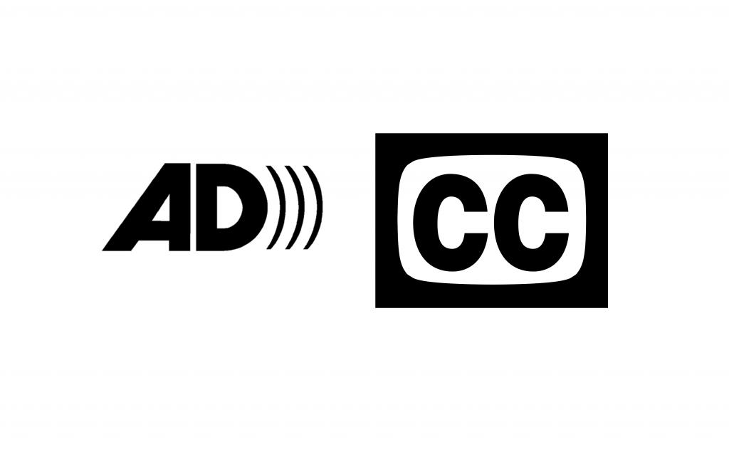 Simbolo dell'audiodescrizione AD e dei sottotitoli per Sordi CC