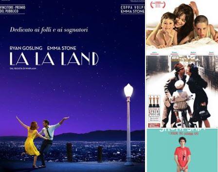 """Collage di locandine dei quattro film accessibili della rassegna """"Più cinema per tutti"""": La La Land, Short Skin, La vita è bella, La prima cosa bella"""
