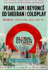 Global Citizen Festival con Pearl Jam, Beyoncé, Ed Sheeran, Coldplay