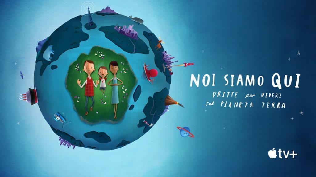 La locandina del film. Accanto al titolo, l'immagine del pianeta Terra. Al centro, un uomo, una donna e un bambino. In basso a destra, il logo di Apple TV Plus.