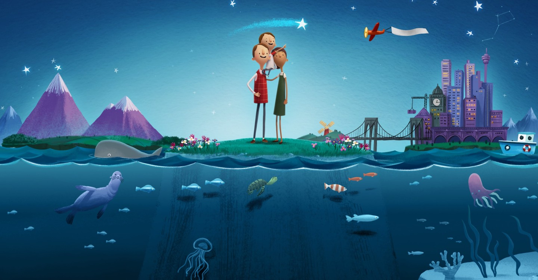 Un uomo e una donna reggono un bambino sulle spalle. Sopra di loro c'è un cielo stellato, montagne e una metropoli. Sotto, le profondità marine.