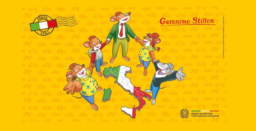 Su sfondo giallo, cinque topi illustrati si tengono per mano intorno all'italia. Sono Geronimo Stilton e la sua famiglia.